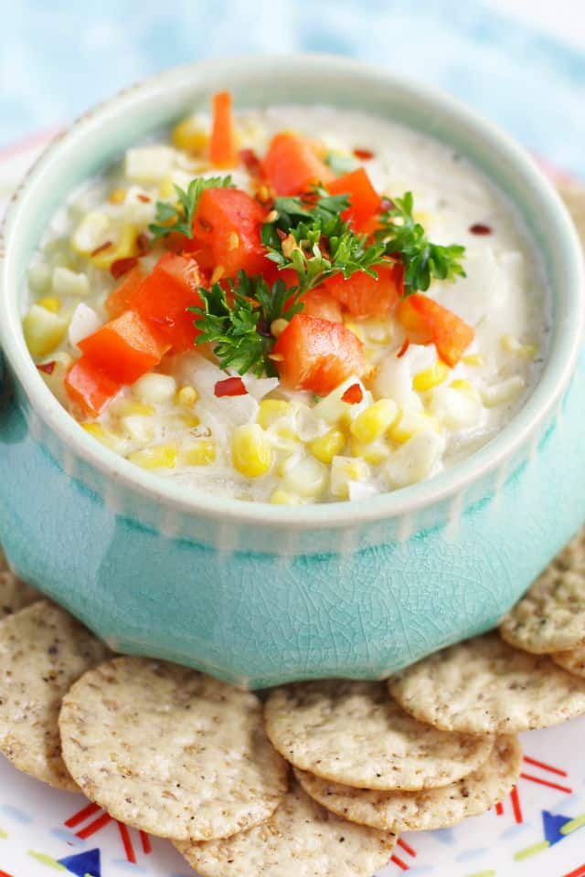 This easy hot corn dip is the perfect appetizer for Monday Night Football! #dairyfree #ad