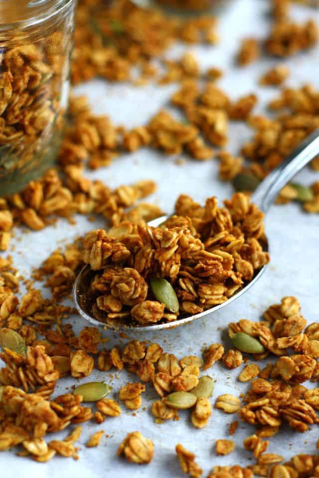 ... pumpkin pie spices, and pumpkin seeds, and boom! This granola is ready