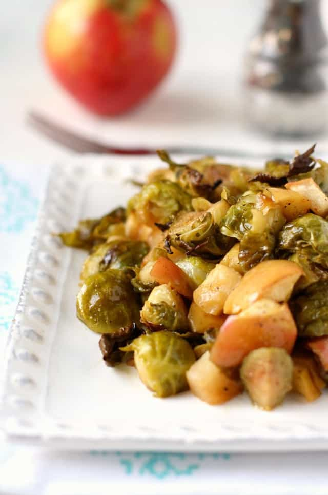 Maple Mustard Roasted Brussels Sprouts. - The Pretty Bee
