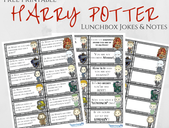 FREE Printable HARRY POTTER Lunchbox Jokes & Notes!