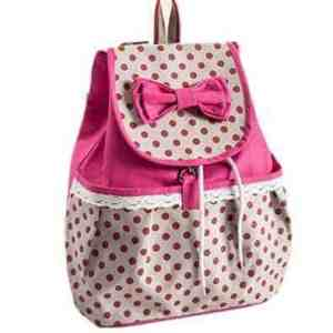 Phenas? Girl's Lovely Sweet Bowknot Leisure Canvas Backpack for Student (Rose)