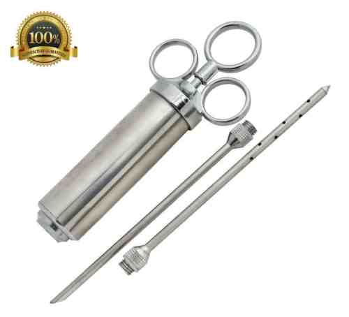 Heavy Duty Meat Injector 304 Stainless Steel - 2 Oz Seasoning Injector - Marinade Injector Syringe Includes 2 Needles