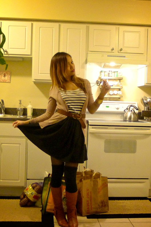 OOTD, knee high socks, American Apparel circle skirt