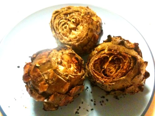 grilled seasoned artichokes