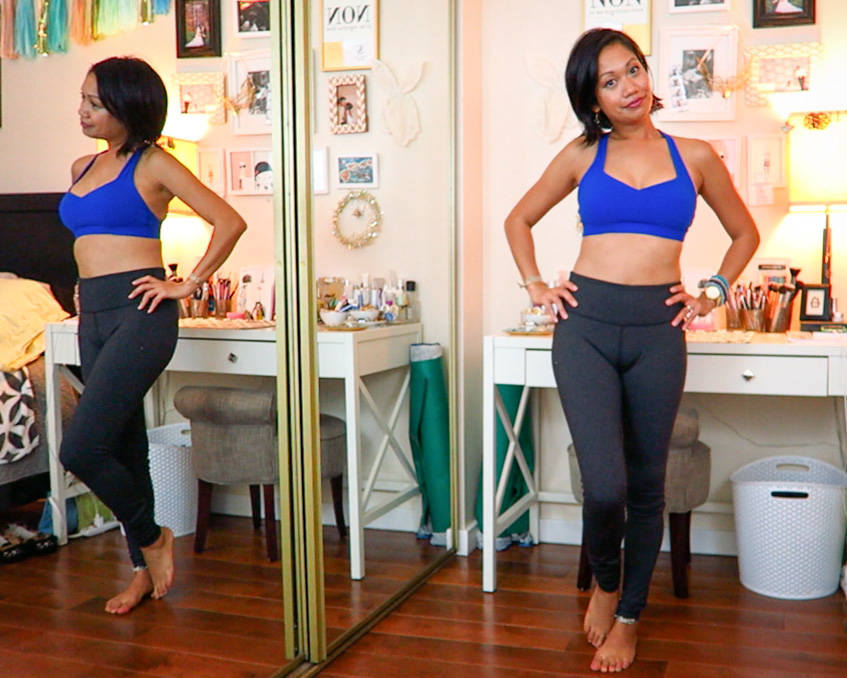 thereafterish, Zara & Revolve Clothing haul, Asian woman wearing Lorna Jane blue Y-back sports bra