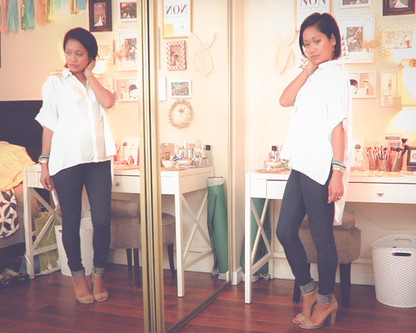 thereafterish, Zara & Revolve Clothing haul, Asian woman wearing silk boxy white button down
