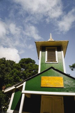 molokai travel, village church Steeple in Halawa Valley