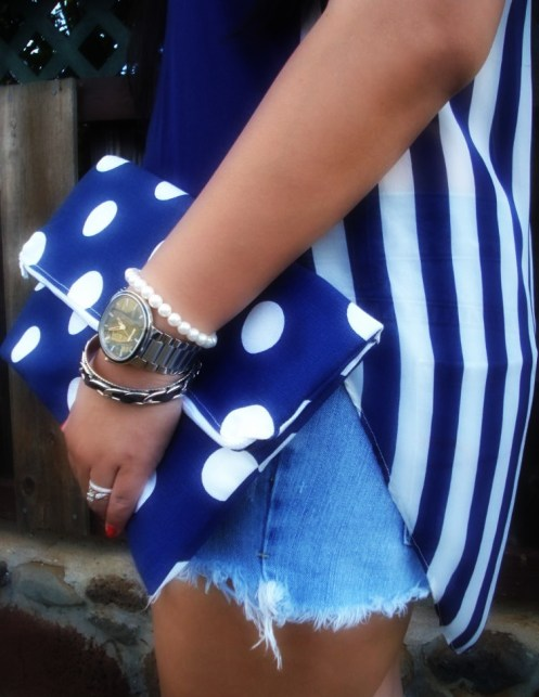 DIY Blue Polka Dot Clutch, American Apparel Clutch, Elisharon