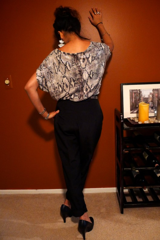 How to Wear Mixed Prints, Snakeskin on Snakeskin, Python Print Blouse, American Apparel Polyester Pleat Trousers