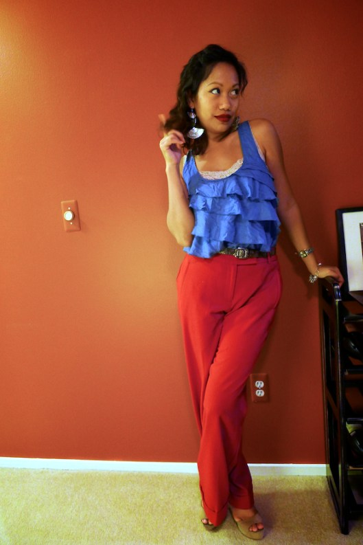 Red High-Waisted Wide Leg Trousers, Red pants, OOTD