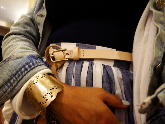 thereafterish., OOTD, Asia Street Style, HRH Collection Cuff Necklace, Nautical Stripe Skirt