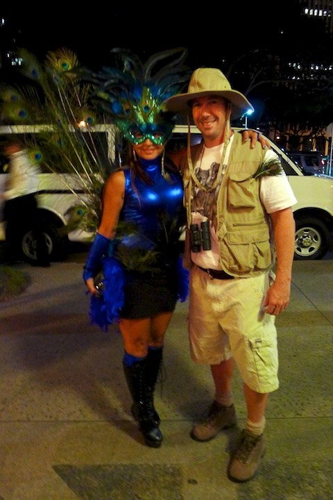 thereafterish, Aloha Tower Halloween Party, peacock costume, birdcatcher costume