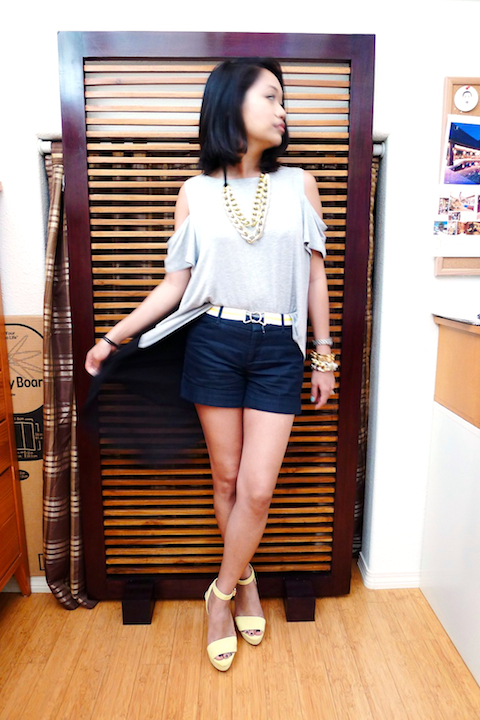 thereafterish, ootd, shoulder cut outs top, gold arm party, HRH Collection jewelry