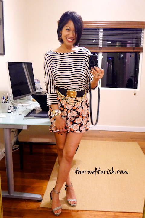 thereafterish, ootd, mikinola boutique, how to mix prints, stripes and floral print, vintage chain belt