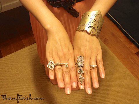 ootd, arm party, House of Harlow key ring, jewelmint floral full finger ring, wendy mink cuff