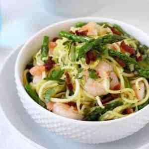 Zucchini Pasta Carbonara with Shrimp