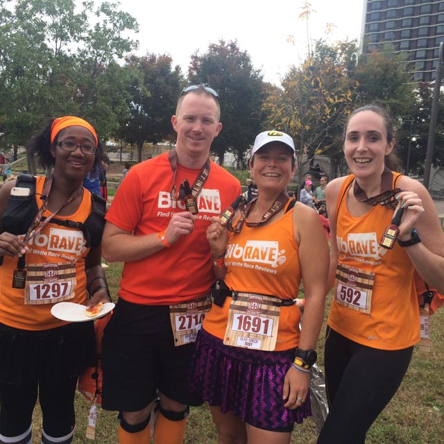 BibRavePros Erica, Josh, Angie, and Jessica after completing 2015 Urban Bourbon Half