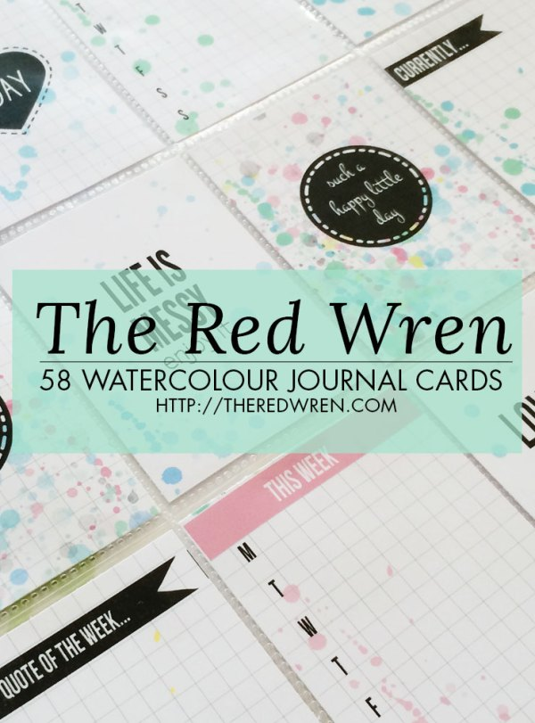 Free Watercolour Printable Journal Cards