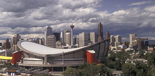 The Scotiabank Saddledome will get a taste of the hardcourt just days before throwing down the ice for the Flames home opener. (Photo Courtesy of Mark Goebel)
