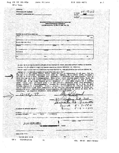 coroner's report when body discovered