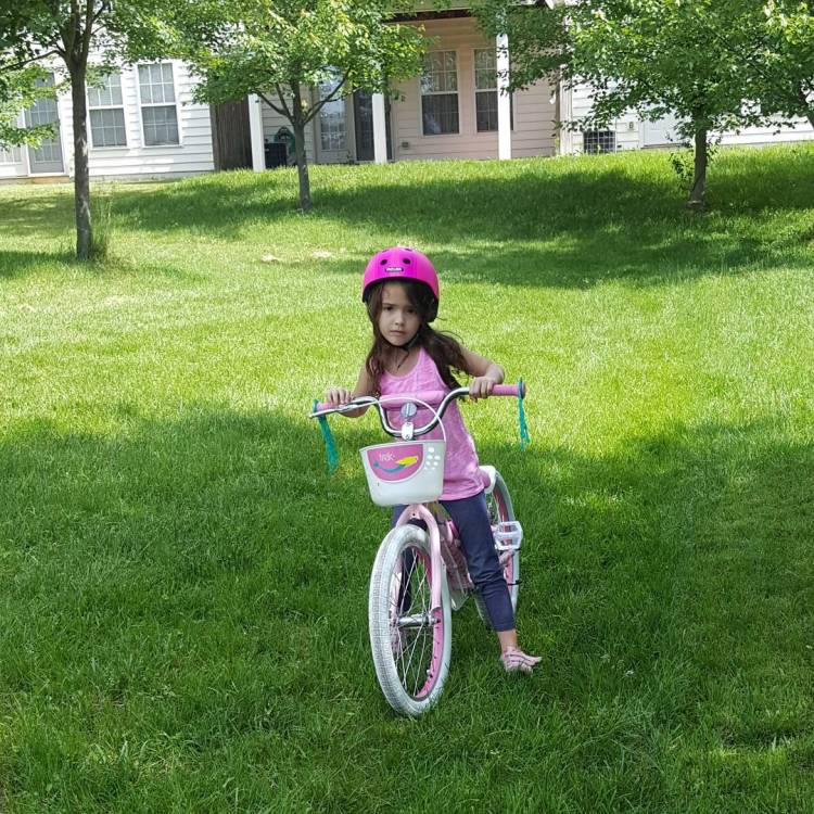 First time trying to ride without training wheels! Super proud