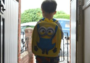 Little boy off to nursery