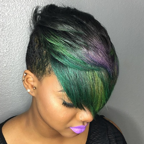 Short Black Undercut For Women With Balayage