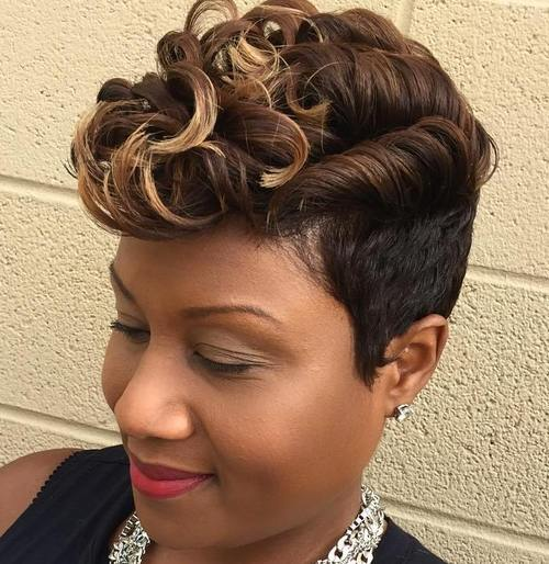 curly top short hairstyle for black women
