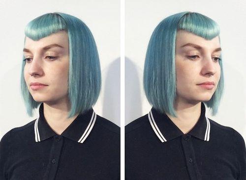 funky pastel blue bob