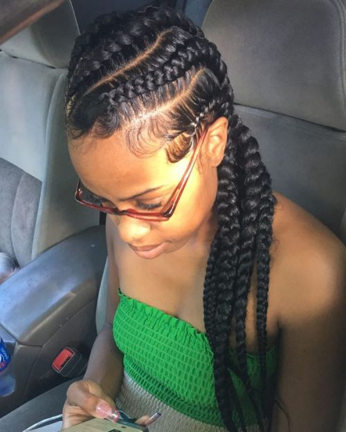 Diagonal Big Cornrow Braids