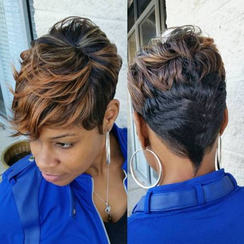 Short Black Haircut With Highlights