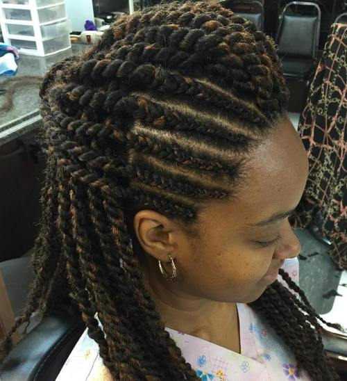 Half Updo With Cornrows And Twists