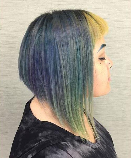 pastel colored angled bob