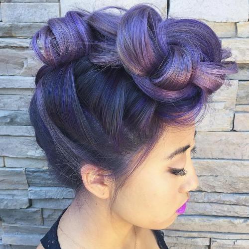 Pastel Purple Knotted Mohawk Updo