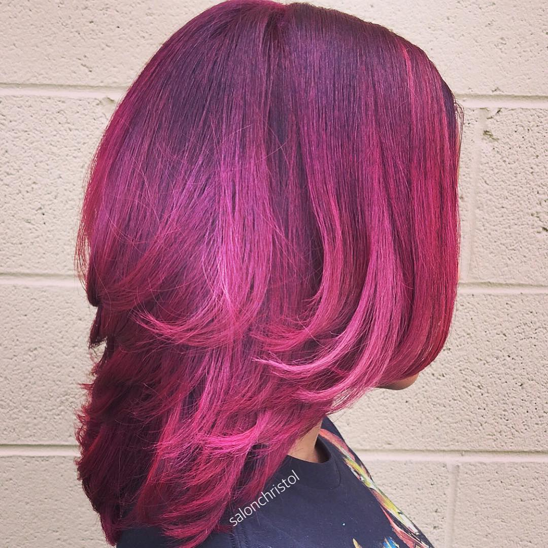 Layered Purple Pink Hairstyle