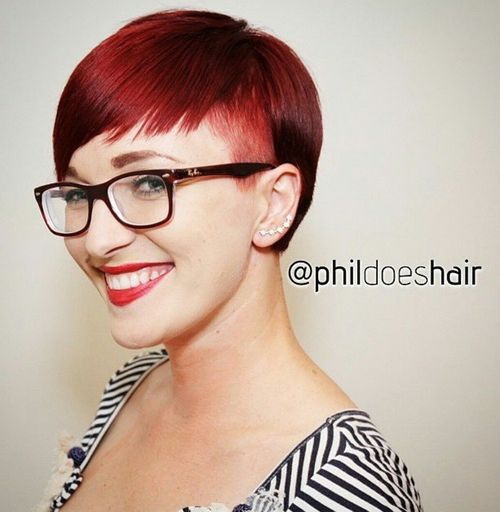 asymmetrical short haircut with temple undercut