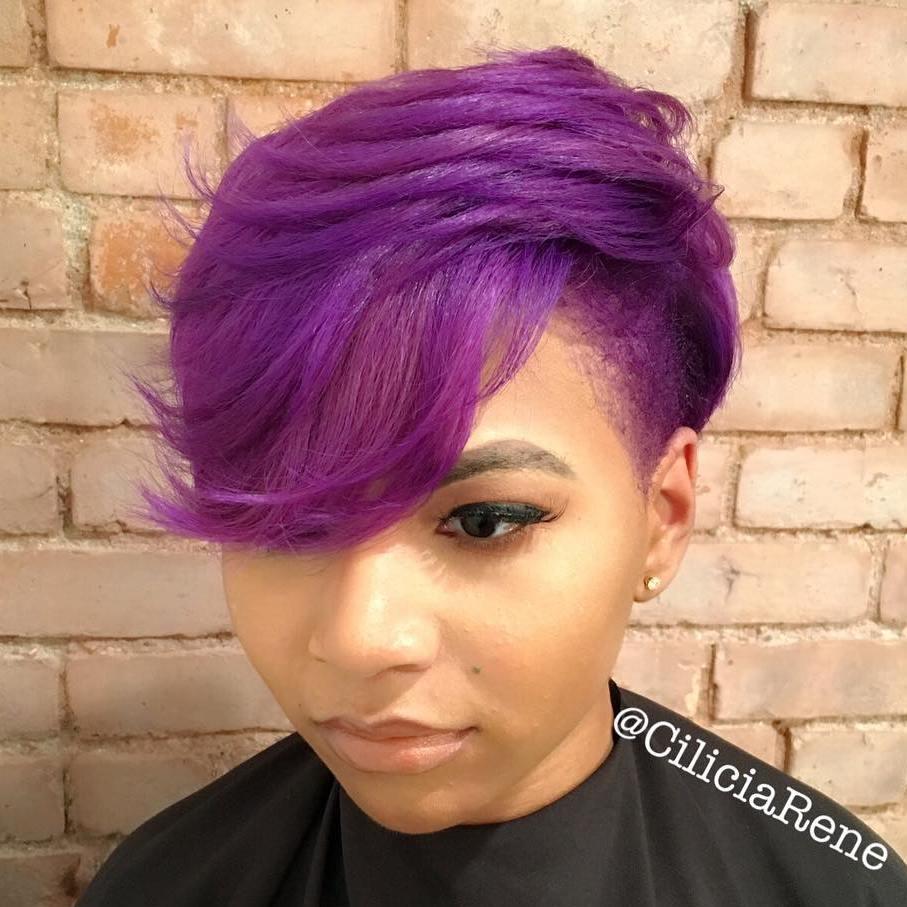 Purple Pixie With Temple Undercut