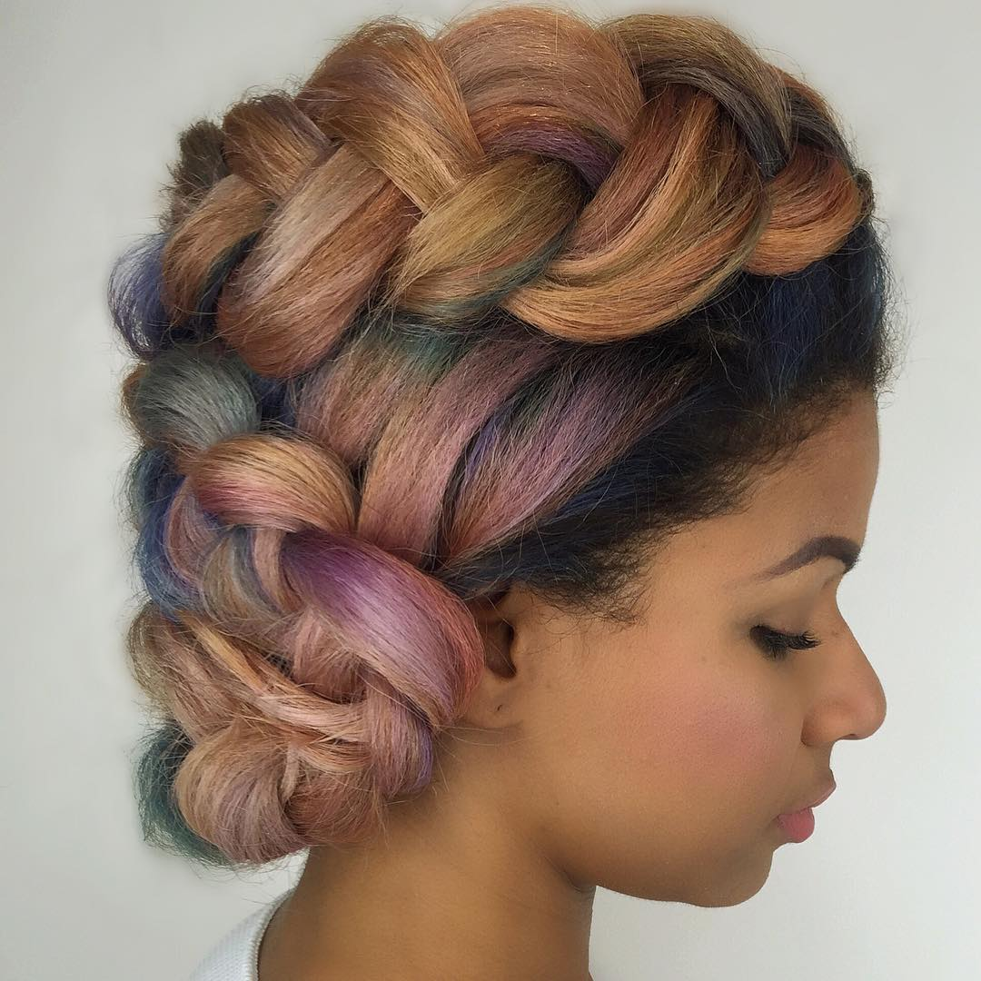 pastel sew-in hair in updo