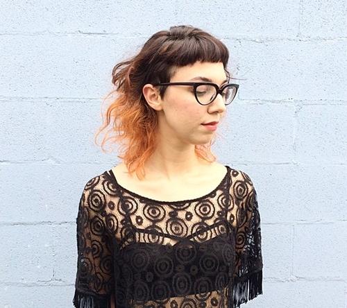 medium wavy hair with short bangs
