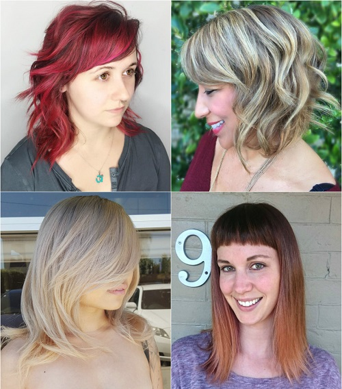 medium cuts with bangs for thick hair