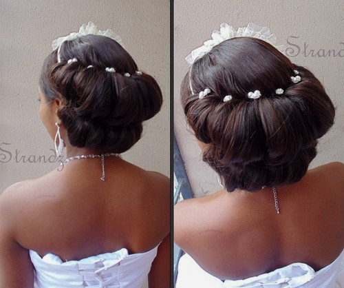 back double roll wedding updo for black women