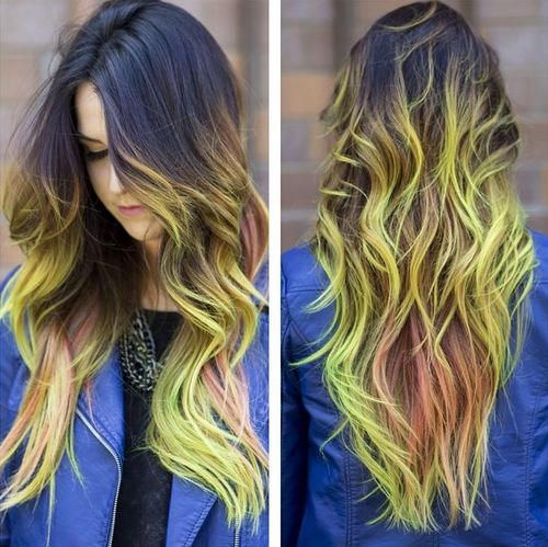 brown hair with yellowish green balayage