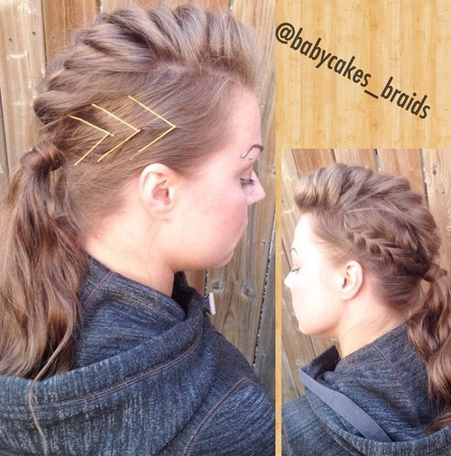 braided mohawk hairstyle for long hair