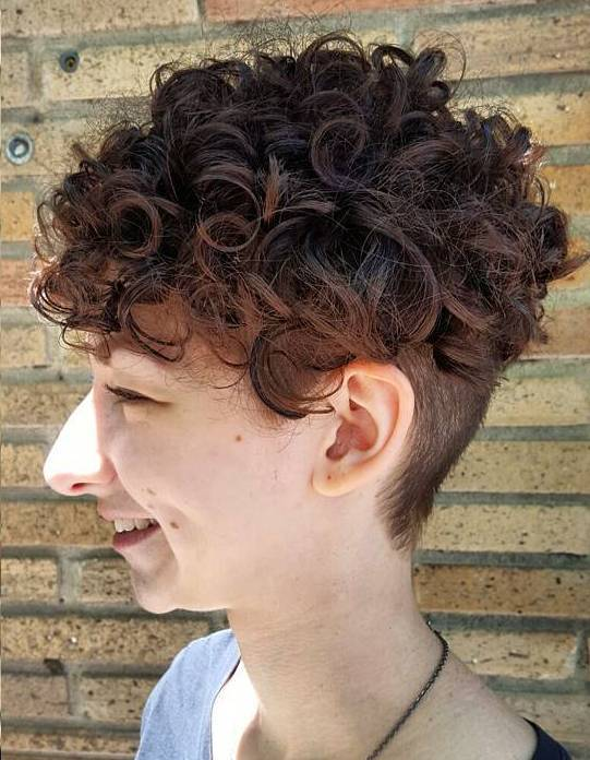 Curly Hairstyle With Nape Undercut