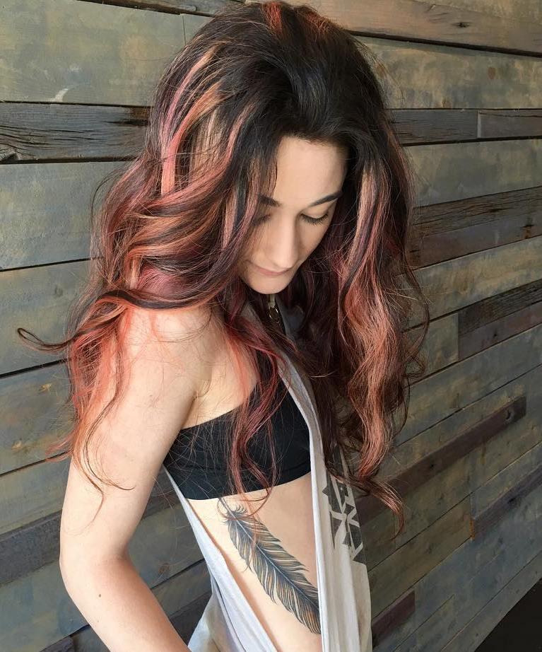 Dark Brown Hair With Pastel Pink Balayage