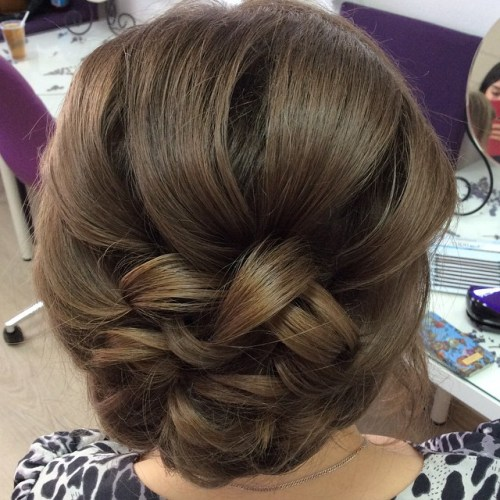 Loose Braided Bun Updo