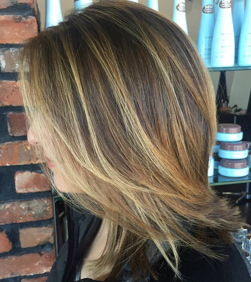 Layered Medium Hairstyle With Balayage