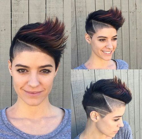 creative mohawk with hair chalking