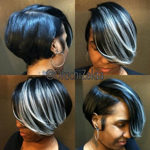 Side Parted Black Bob