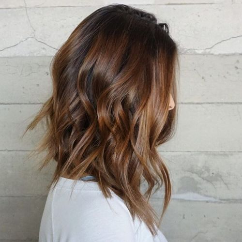 Wavy Brown Balayage Lob